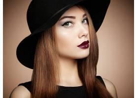 女人,模特,模特,女孩,妇女,特写镜头,帽子,口红,蓝色,眼睛,黑发女