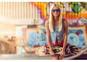 女人,模特,模特,妇女,女孩,太阳镜,溜冰板,涂鸦,微笑,白皙的,壁纸