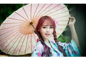 女人,亚洲的,妇女,模特,东方的,雨伞,辫子,黑发女人,微笑,和服,壁