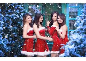 女人,亚洲的,女孩,妇女,模特,圣诞节,降雪,冬天的,黑发女人,微笑,