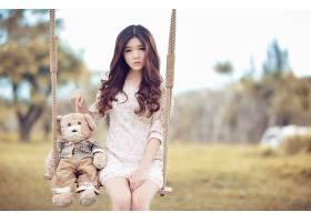 女人,亚洲的,东方的,模特,妇女,摇摆,泰迪,熊,Bokeh,户外的,黑发