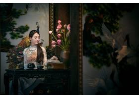 女人,亚洲的,女孩,安哥拉,奶妈,越南的,绘画,酒香,花,书,茶,设置,图片