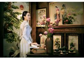 女人,亚洲的,女孩,安哥拉,奶妈,越南的,花,绘画,酒香,书,茶,设置,图片