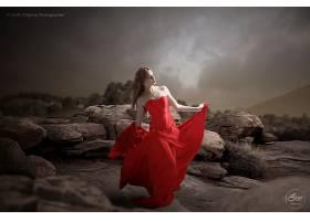 女人,亚洲的,妇女,女孩,模特,红色,穿衣,黑发女人,岩石,壁纸,