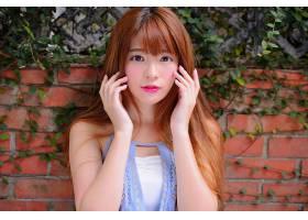 女人,亚洲的,妇女,模特,女孩,口红,蓝色,眼睛,红发的人,壁纸,