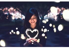 女人,亚洲的,妇女,模特,女孩,夜晚,黑发女人,微笑,心,灯光,壁纸,