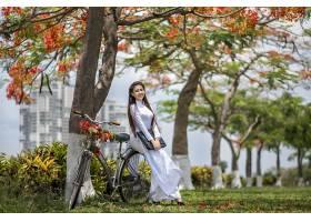 女人,亚洲的,妇女,模特,女孩,自行车,深度,关于,领域,微笑,白色,