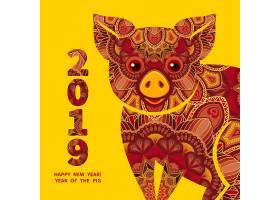 2019猪年矢量装饰插画设计