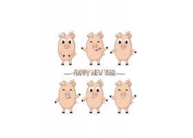 卡通猪形象矢量装饰插画设计