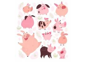个性可爱的猪矢量装饰插画设计