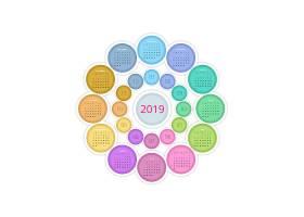圆形2019新年月历矢量装饰插画设计
