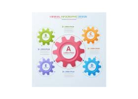 创意齿轮多彩的流程图信息图表矢量设计