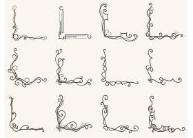 欧式个性花纹角边框设计