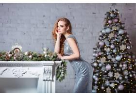 女人,模特,模特,妇女,女孩,红发的人,穿衣,蓝色,眼睛,圣诞节,圣诞