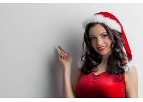 女人,模特,模特,妇女,女孩,微笑,黑发女人,口红,圣诞老人,帽子,蓝