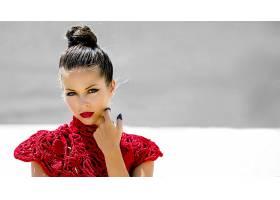 女人,模特,模特,妇女,女孩,棕色,眼睛,黑发女人,口红,壁纸,