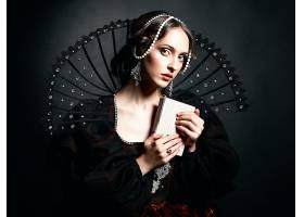 女人,艺术的,妇女,维多利亚女王时代的,黑发女人,珍珠,蓝色,眼睛,