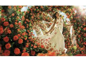 女人,艺术的,妇女,花,玫瑰,穿衣,橙色的,花,黑发女人,白色,穿衣,