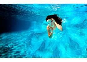 女人,艺术的,妇女,蓝色,穿衣,泳池,在水下,黑发女人,蓝色,眼睛,壁