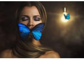 女人,艺术的,幻想,妇女,蝴蝶,蓝色,黑发女人,壁纸,