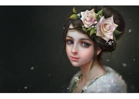 女人,艺术的,绘画,女孩,脸,蓝色,眼睛,花,头发,黑发女人,玫瑰,粉
