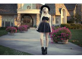 女人,野蛮的,妇女,女孩,模特,白皙的,帽子,深度,关于,领域,黑色,