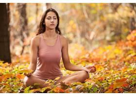女人,瑜珈,妇女,女孩,黑发女人,Bokeh,秋天,叶子,壁纸,