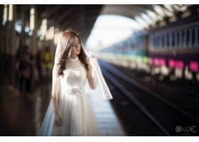 女人,新娘,亞洲的,壁紙,