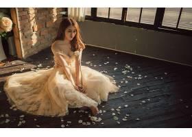 女人,新娘,婦女,女孩,亞洲的,情緒,花瓣,婚禮,穿衣,白色,穿衣,壁