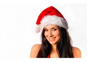 女人,模特,模特,圣诞节,黑发女人,圣诞老人,帽子,微笑,棕色,眼睛,