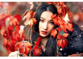 女人,模特,模特,妇女,女孩,亚洲的,口红,棕色,眼睛,秋天,叶子,黑
