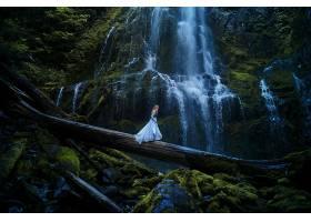 女人,情绪,瀑布,森林,原木,妇女,女孩,蓝色,穿衣,壁纸,
