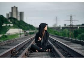 女人,情绪,妇女,亚洲的,铁路,城市的,壁纸,