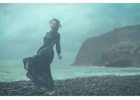 女人,情绪,妇女,模特,女孩,海滩,穿衣,黑发女人,壁纸,图片
