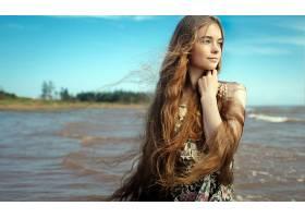 女人,情绪,妇女,模特,女孩,白皙的,长的,头发,蓝色,眼睛,壁纸,图片