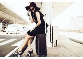 女人,亚洲的,妇女,模特,东方的,黑发女人,手提箱,帽子,太阳镜,壁图片