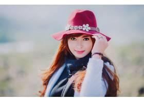 女人,亚洲的,妇女,模特,女孩,帽子,深度,关于,领域,口红,红发的人
