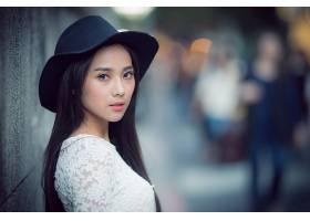 女人,亚洲的,妇女,模特,女孩,帽子,深度,关于,领域,蓝色,眼睛,黑