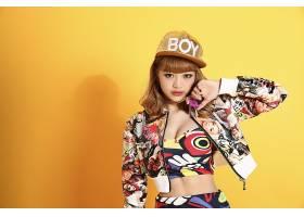 女人,亚洲的,妇女,模特,女孩,帽子,红发的人,蓝色,眼睛,壁纸,