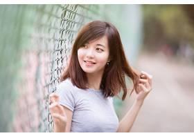 女人,亚洲的,妇女,模特,女孩,微笑,黑发女人,污迹,栅栏,壁纸,