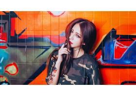 女人,亚洲的,妇女,模特,女孩,涂鸦,黑发女人,文身,口红,壁纸,