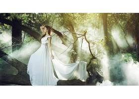 女人,亚洲的,妇女,模特,女孩,白色,穿衣,雾,森林,黑发女人,壁纸,