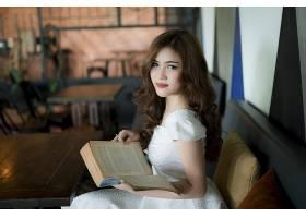 女人,亚洲的,妇女,模特,女孩,白色,穿衣,黑发女人,棕色,眼睛,书,