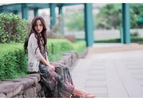 女人,亚洲的,妇女,模特,女孩,黑发女人,口红,深度,关于,领域,穿衣