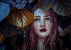 女人,脸,妇女,模特,女孩,口红,叶子,雀斑,蓝色,眼睛,红发的人,壁