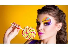 女人,脸,妇女,模特,女孩,棒棒糖,化妆品,棕色,眼睛,黑发女人,口红图片