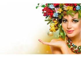 女人,模特,模特,安娜,子投票,新建,年,圣诞节,装饰品,富有色彩的,
