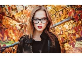 女人,模特,模特,妇女,女孩,黑发女人,眼镜,口红,棕色,眼睛,秋天,图片