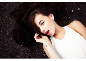 女人,模特,模特,妇女,女孩,黑发女人,说谎的,向下,棕色,眼睛,口红