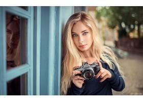 女人,模特,模特,妇女,女孩,白皙的,照相机,反射,蓝色,眼睛,深度,